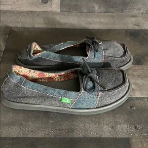 Sanuk Chambray Denim Fabric Slip On